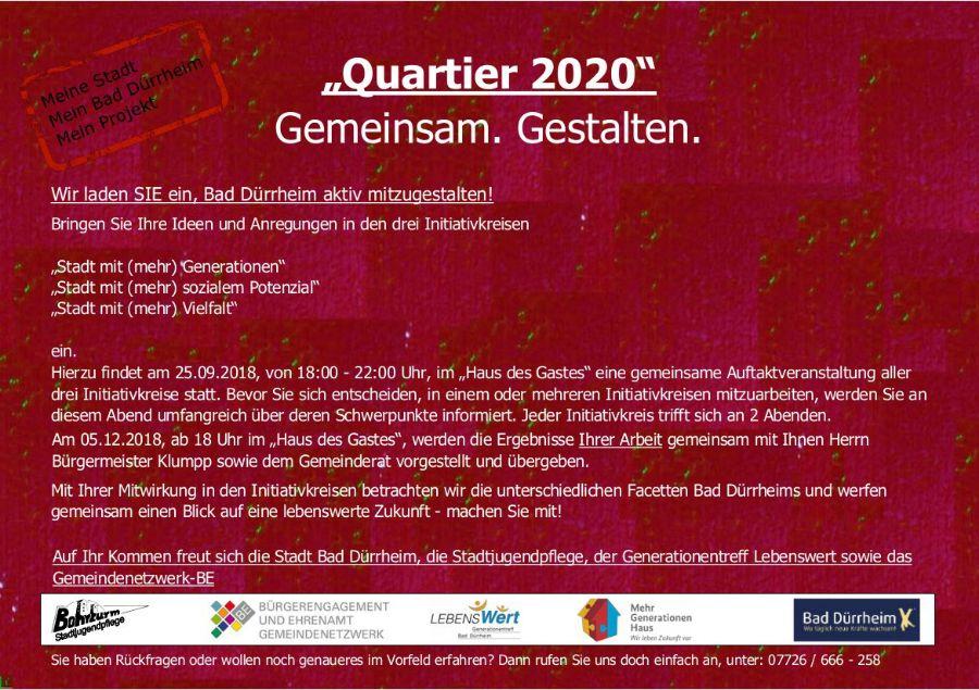 Quartier 2020 - Gemeinsam. Gestalten. Flyer Rückseite