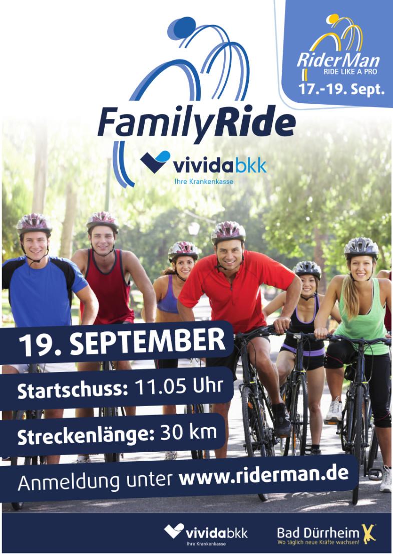 Ankündigungsplakat für den Riderman und den Family Ride am 19. September